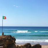 Fun waves at Praia da Guincho near Cascais in Portugal